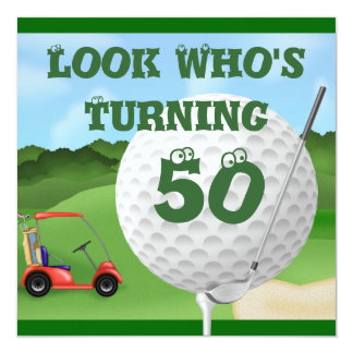Fun Golf  50th Birthday Invitations TEMPLATE