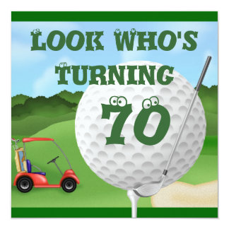 Fun Golf  70th Birthday Invitations TEMPLATE