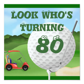 Fun Golf  80th Birthday Invitations TEMPLATE
