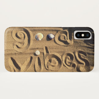 """Fun, """"Good Vibes"""" Quote Drawn In Beach Sand Photo iPhone X Case"""