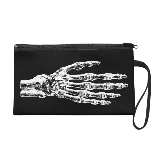 Fun goth skeletal hands wristlet clutches