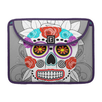 Fun Goth Sugar Skull and Roses Design Sleeve For MacBook Pro