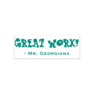 "Fun ""GREAT WORK!"" + Teacher's Name Rubber Stamp"