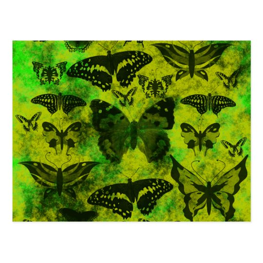 Fun Green and Yellow Butterfly Grunge Pattern Postcard
