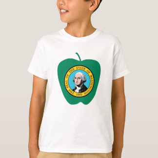 Fun Green Apple Washington State Flag T-Shirt