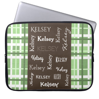 Fun Green Contemporary Abstract w/Name Laptop Sleeve