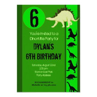 "Fun Green Dinosaur Birthday Party Invitations 4.5"" X 6.25"" Invitation Card"