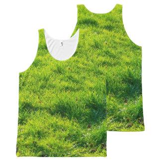 Fun Green Grass Print Unisex Tank Top