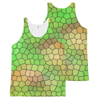 Fun Green Mosaic Pattern Tank Top