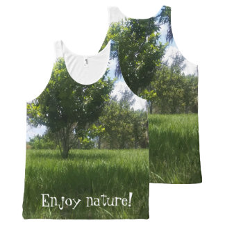 Fun Green Nature Park Picture All-Over Print Tank Top