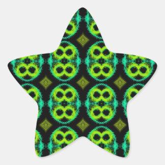 Fun Green Plaid Star Sticker