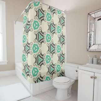 Fun Green Retro Pattern Shower Curtain