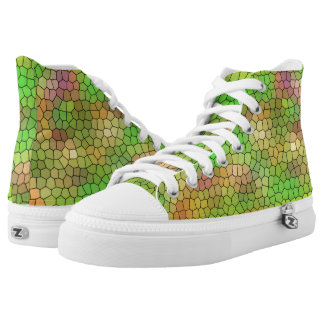 Fun Green Stained Glass Pattern High Tops