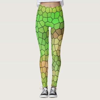 Fun Green Stained Glass Pattern Leggings