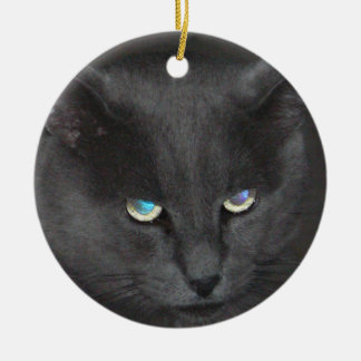 Fun Grey Kitty Cat w/ Colored Eyes Christmas Ornament