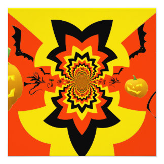 Fun Halloween Kaleidoscope Pattern Black Orange 13 Cm X 13 Cm Square Invitation Card