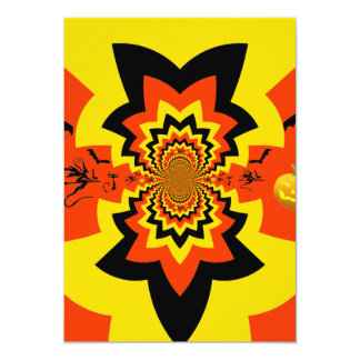 Fun Halloween Kaleidoscope Pattern Black Orange 13 Cm X 18 Cm Invitation Card