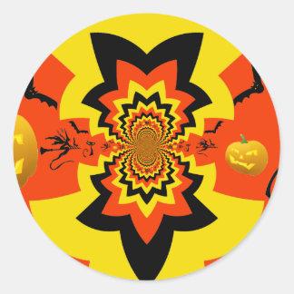 Fun Halloween Kaleidoscope Pattern Black Orange Sticker