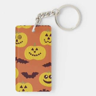 Fun Halloween Pumpkin & Bat Design Double-Sided Rectangular Acrylic Keychain