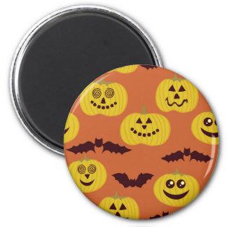 Fun Halloween Pumpkin & Bat Design Refrigerator Magnets