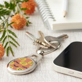 Fun Halloween Pumpkin & Bat Design Silver-Colored Oval Key Ring