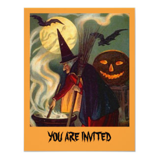 "FUN HALLOWEEN WITCH INVITATION ~ EZ TO CUSTOMIZE! 4.25"" X 5.5"" INVITATION CARD"