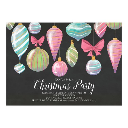 Fun Hanging Ornaments Christmas Party Invitation