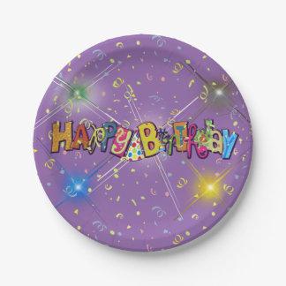 Fun Happy Birthday Confetti 7 Inch Paper Plate