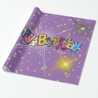 Fun Happy Birthday Confetti Wrapping Paper