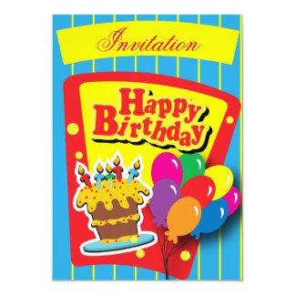 Fun Happy Birthday Party 13 Cm X 18 Cm Invitation Card