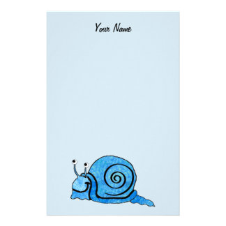 Fun Happy Cartoon Blue Snail on Light Blue Stationery Paper