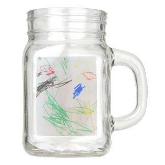 fun happy colorful glass mason jar