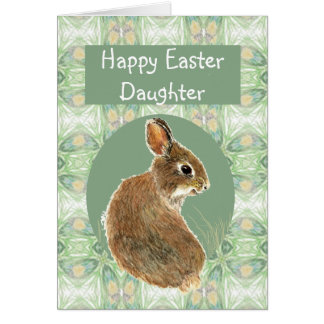 Fun Happy Easter Daughter with Cute Bunny Greeting Card