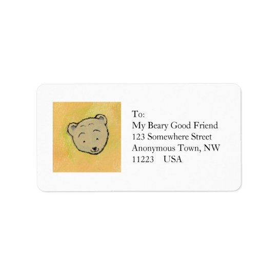 Fun happy friendly bear art unique - My Bears & Me Address Label