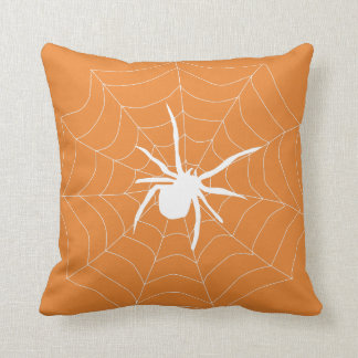 Fun Happy Halloween Black &  Orange Spider Web Cushion