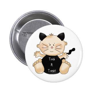 Fun Happy Halloween Boy Cat Pin Button