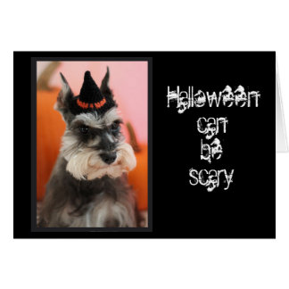 Fun Happy Halloween Cute Schnauzer Dog Card