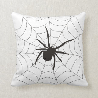 Fun Happy Halloween Spider with Web Throw Pillow