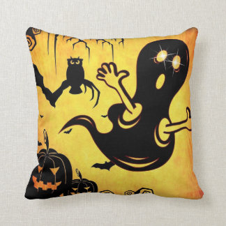 Fun Happy Halloween Trick or Treat with Spider Web Throw Pillow