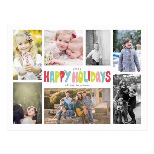 Fun Happy Holidays 7 Photo Collage Postcard