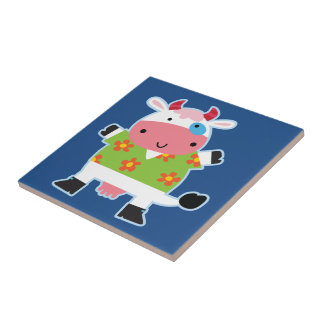 Fun Hawaiian Shirt Cartoon Cow Tile
