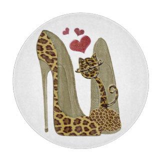 Fun Heart Leopard Stiletto Shoes Chopping Board