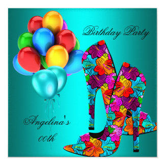 FUN High Heel Shoes Birthday Party Balloons 13 Cm X 13 Cm Square Invitation Card