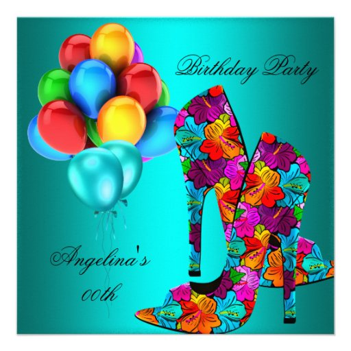 FUN High Heel Shoes Birthday Party Balloons Custom Announcement