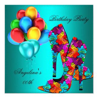 FUN High Heel Shoes Birthday Party Balloons 13 Cm X 13 Cm Square Invitation Card