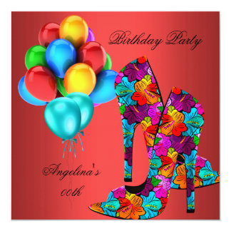 FUN High Heel Shoes Birthday Party Rust Red Teal 13 Cm X 13 Cm Square Invitation Card