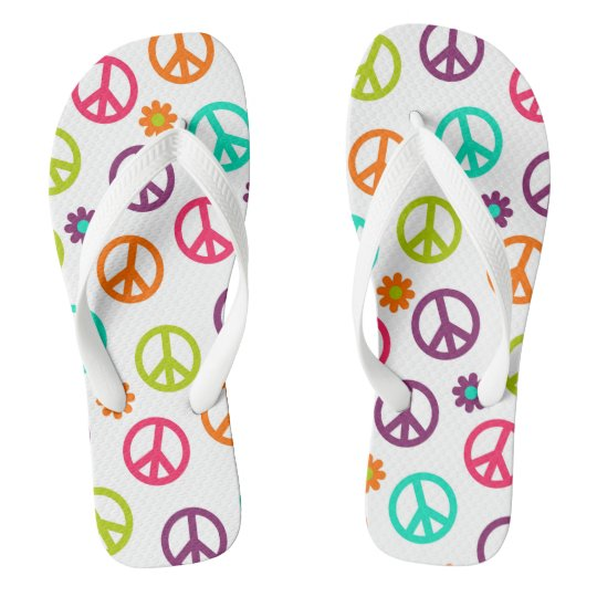 Fun Hippie retro peace sign pattern flip flops