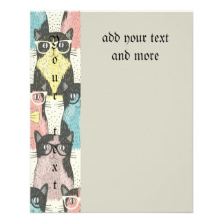 Fun,hipster,cat,pattern,trendy,cute,girly,modern, 11.5 Cm X 14 Cm Flyer