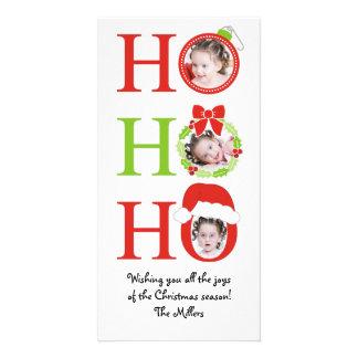 Fun HO HO HO Photo Frame Christmas Greeting Card Personalised Photo Card