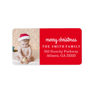 Fun Holiday Photo Red Christmas Address Label